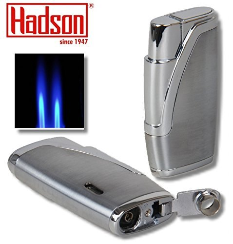Hadson Zigarren-Feuerzeug Dualflamme Bachelor Chrom inkl. Lifestyle-Ambiente Tastingbogen