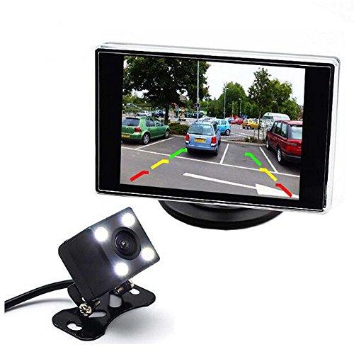 GOFORJUMP Moniteur de stationnement de Voiture de 3,5 Pouces avec la caméra de Vue arrière de Vision Nocturne de 4 LED