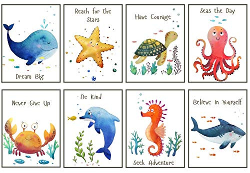 Nursery Wall Decor Sea Creatures - UNFRAMED - Ocean Animal Pictures for Kids, Boy, Girl - Set of 8 Watercolor Prints, 8x10 inch, Dolphin, Shark, Whale, Crab, Sea Star, Seahorse, Turtle, Octopus