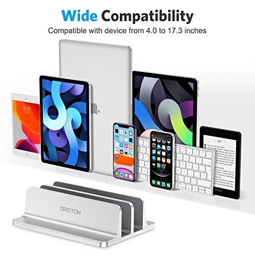 OMOTON platzsparend Laptopständer, Verstellbarer vertikaler Alulegierung Laptop Ständer für alle Tablets und 10-17.3 Zoll Laptops, z.B MacBook, Lenovo, Dell und mehr- Geeignet für 2 Laptops- Silber