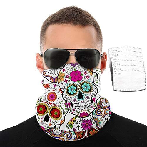 Men's Halloween Sugar Skulls Bandana Cloth Face Mask Washable Face Covering Neck Gaiter Dust Mask with Filter