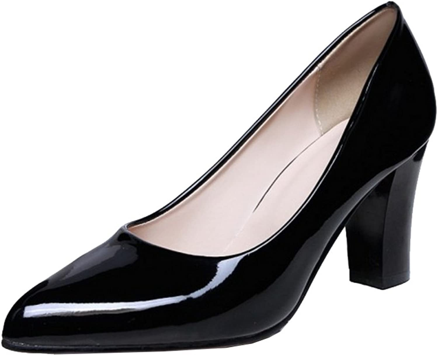 Mo Joc Casual Pumps with Chunky Heel Comfortable Working Heels with Large