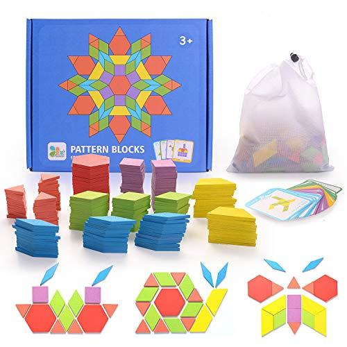 HellDoler Puzzle en Bois Jouets 155 Piècess Tangrams Blocs de Modèle Classiques Jouets Montessori Jouets éducatifs avec 24 Cartes de Conception pour Enfant