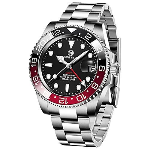 PAGRNE DESIGN Reloj mecánico automático impermeable con correa de acero inoxidable de 40 mm para hombre., 3 negro y rojo., Pulsera