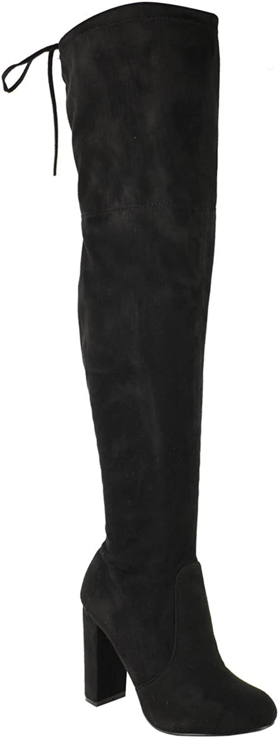 Lelehwhge Womens Thigh High Boots Over The Knee Party Stretch Block Mid Heel Size Black Black Faux Suede 9 M US
