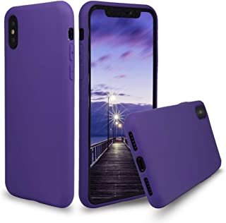 Full Protection Silicone iPhone X/Xs Case Soft Gel Rubber iPhone Xs Case with Microfiber Cloth Lining Cushion Drop Protection Case for iPhone X/Xs (Purple)