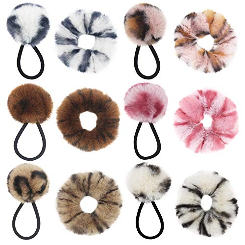 SUSULU 12pcs Leopard Faux Fur Rabbit Hair Scrunchies Fluffy Pompoms Decor Elastic Ring Hair Tie Ponytail Holder Hair Bands