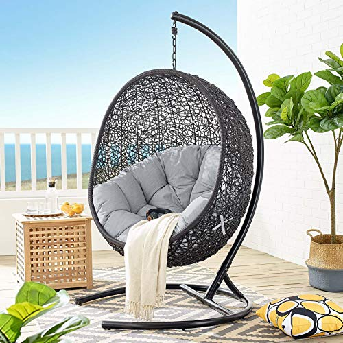 Modway EEI-3943-BLK-GRY Encase Outdoor Swing Chair with Stand, Black Gray