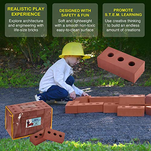 Playlearn Foam Brick Building Blocks for Kids - 50 Pack - Actual Brick Size, Builders Set for Construction and Stacking