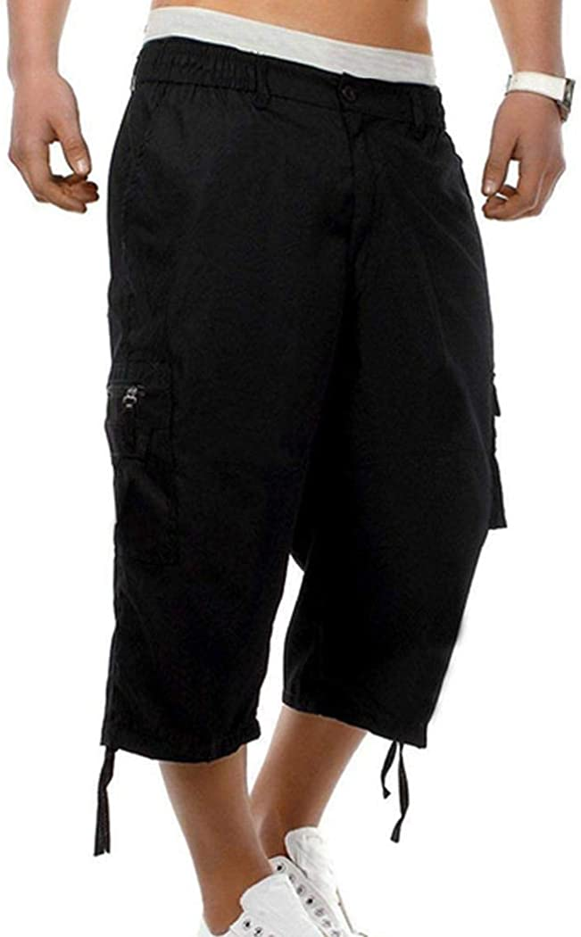 Men's Cargo Shorts 3/4 Relaxed Fit Cargo Pants Below Knee Pants Multi-Pocket Outdoor Cotton Capri Pants