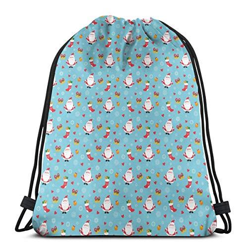 Lsjuee Classic Drawstring Bag, Weihnachtsmann und Socken Gym Rucksack Umhängetaschen Sport Aufbewahrungstasche für Männer Frauen