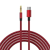 MLTRA Type USB c to 3.5mm Jack Aux Cable USB C Car Converter Speaker Headphone Audio Splitter Adapter for Samsung S20 S10 Huawei P30 P20 (Red)