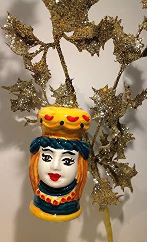 Bola de Navidad con cabeza de moro, de cerámica siciliana de Santo Stefano de Camastra, hecha a mano en Sicily