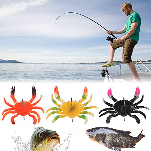 3Pack Smash Crab Lure, 3D Simulation Crab Soft Lures with Sharp Hooks, Artificial Baits Soft Crab Saltwater Fish Tackle Accessory Tool (Set)