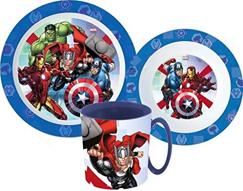 Avengers Marvel Kinder-Geschirr Set mit Teller, Müslischale & Tasse