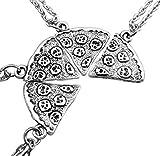 MJartoria BFF Necklace Best Friend Forever Pizza SlicePuzzle Friendship Necklace Set of 6 (Pizza-4pcs)