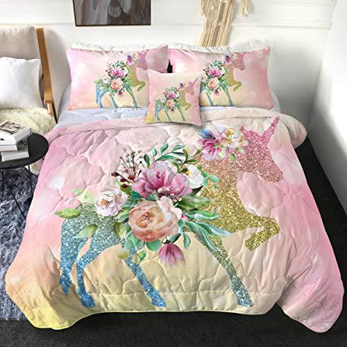 Sleepwish Girl Unicorn Bedding Twin Bed Set for Girls Comforter Set Unicorn Glitter Comforter Set Twin 4 Pieces Pink Unicorn Bedspread for Kids Teens (1 Comforter, 2 Pillow Shams, 1 Cushion Cover)