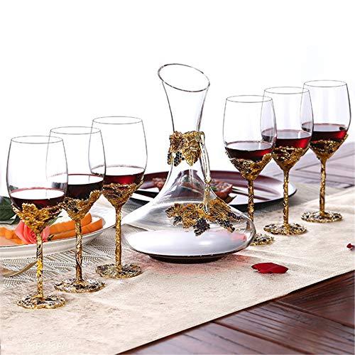 XYLUCKY Email-Handwerk Dekanter Mit Emaille-Weingläser, Premium-Wein-Belüfter Dekanter, Bleifreie Hand Geblasen, Rotwein-Karaffe, Weinzubehör,B
