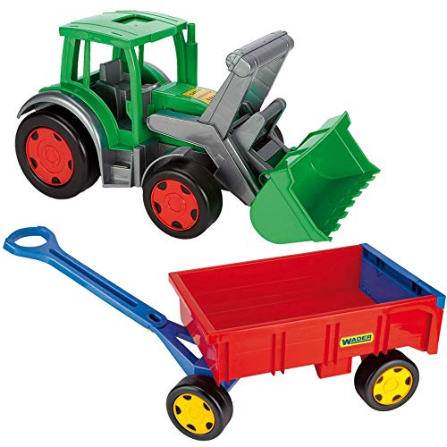 Wader XXL Gigant Traktor g Frontlader incl Anhänger Handwagen Trekker mit Hänger