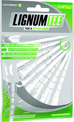LIGNUM Wooden Golf T-Shirt, Ring System Tee (Confezione da 12) -Bianco, 82 mm Unisex-Adulto