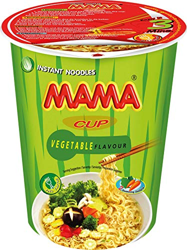 MAMA Instant-Cup-Nudeln Gemüse – Instantnudeln orientalischer Art – Authentisch thailändisch kochen – Enthält Gabel – 2 x 8 à 70 g