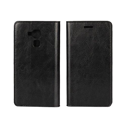 Sunrive Für Huawei Honor 5C, Echt-Ledertasche Schutzhülle Etui Hülle mit Standfunktion Flip Lederhülle Cover Hülle Handyhülle Schalen Handy Tasche(schwarz)+Gratis Universal Eingabestift