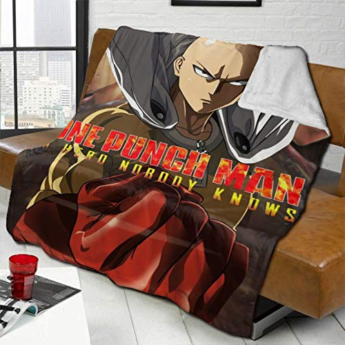 COZYLIFT Thermal Fleece Throws Blanket, One Punch Man Hypoallergenic Bed Blanket, Decoration Exquisite Lambs Wool Throws for Family & Home Summer Cats,50x40 Inch