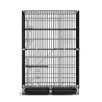Chenils Cage pour Animaux De Compagnie De en Métal Robuste Caisse pour Chien en Métal Pliable À 2 Couches / 4 Couches À L'intérieur De La Maison (Color : Black, Size : 70 * 50 * 105cm)