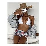Llamativo Sistema de bikini de 3 piezas, falda de envoltura de impresión floral, traje de baño Halter sexy Baño blanco 2021 Verano Diseño de otoño De moda ( Color : Multi-colored , tamaño : Small(S) )