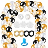MELLIEX 120 Stück Ballon Girlande Kit, Latex Konfetti Luftballons mit 10 Ballon Zubehör für Party Hochzeit Birthday, Schwarz und Gold