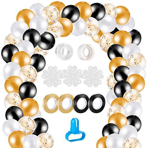 MELLIEX 120 Piezas Globos de Confeti Globos de Latex Kit de Guirnaldas de Globos con 10 Accesorios para Globos para Decoracion de Boda Cumpleaños Fiesta San Valentin, Negro y Oro