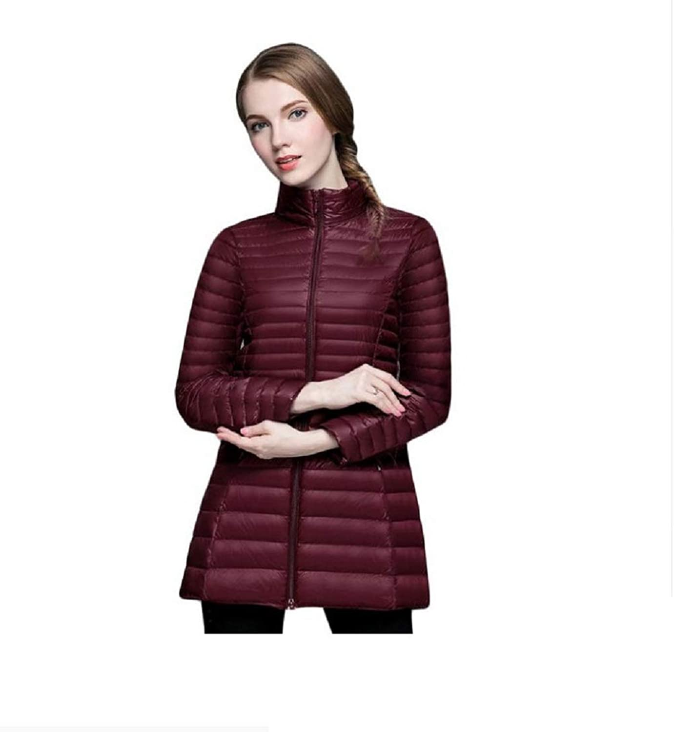 Aehoor Womens Collar Ultra Light Autumn Winter Warm Long Down Jacket 90% Duck Down