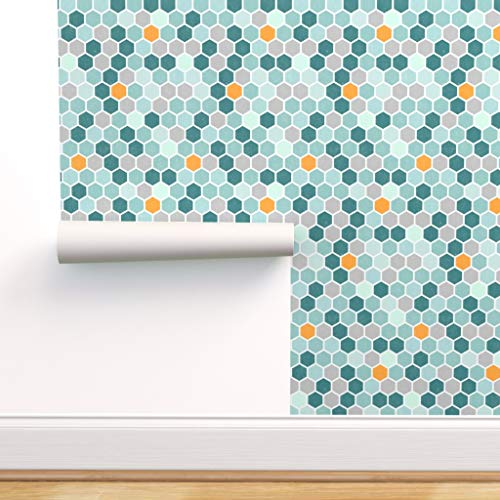 Spoonflower Peel and Stick Removable Wallpaper, Teal Blue Mint Green Hexagon Honeycomb Tangerine Orange Grunge Texture Geometric Print, Self-Adhesive Wallpaper 12in x 24in Test Swatch