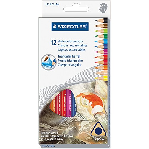 Staedtler 1271C12A6 Triangular Watercolor Pencil Set, H/#3, 2.9mm, 12 Assorted Colors