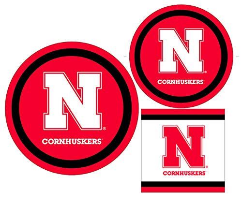 Nebraska Cornhuskers Party Supplies - Bundle Includes Paper Plates and Napkins for 10 People
