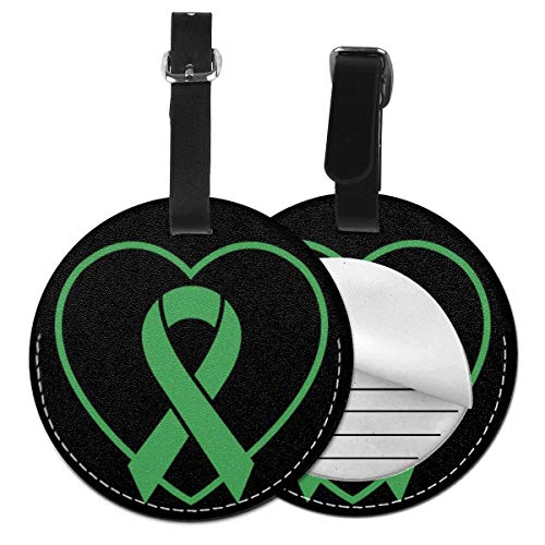 Luggage Tag PU Leather Bag Tag Travel Suitcases ID Identifier Baggage Label Disease Awarenesss Green Ribbon Warrior