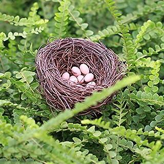 Figurines & Miniatures - 6 pcs mini eggs 1 nest Fairy Garden Miniature Figurine Toys Crafts DIY Accessories Artificial Bir...