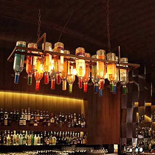 Lámpara colgante de techo de estilo retro con botella de cristal larga, colgante de techo de hierro forjado E26 / E27 para bar, cafetería, cocina, isla de la iluminación, luz colgante