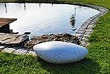 Trango 6040GB IP65 Gartenleuchte Oval-Stein in Granit-Optik inkl. 2x LED Leuchtmittel 60x40x18cm inkl. 5m Outdoorkabel IP65 2x E27-Fassung I Kugelleuchte I Gartendekoration I Wegelicht