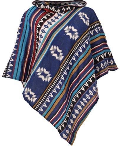 GURU SHOP Inka Poncho mit Kapuze, Goa Hippie Poncho, Damen, Indigo, Synthetisch, Size:40, Jacken, Mäntel & Ponchos Alternative Bekleidung
