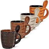 G. Wurm GmbH 4 Espressotassen mit 4 Löffeln - 8-teiliges Dekorset, Cremebraun, Dunkelbraun, Orange, Keramikqualität, Höhe 7 cm / 50 ml