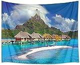 Yhjdcc Hermoso tapiz marino tropical Maldivas Resort Hotel playa hamacas y tapiz de montaña para dormitorio, sala de estar, decoración de fiesta, 150 cm x 200 cm