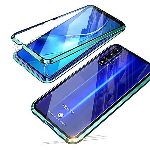 Jonwelsy Coque pour Huawei Honor 20 Pro (6,26 Pouces), 360 Degrés Avant et arrière Verre trempé Transparent Case Cover, Technologie d'adsorption Magnétique Bumper Métal Frame Etui Housse (Vert)
