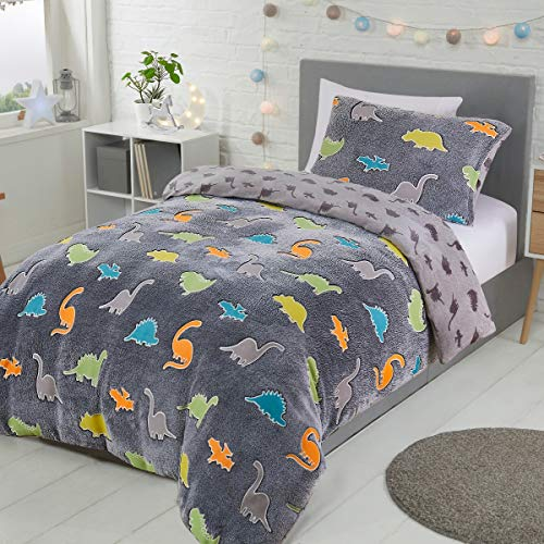 Sleepdown Dinosaur Glow In The Dark Charcoal Kids Boys Girls Grey Reverse Soft Feel Fleece Duvet Cover Quilt Bedding Set with Pillowcase - Single (135cm x 200cm)