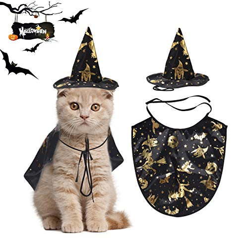 Legendog Halloween Katze kostüm, Haustier Katze Halloween-Umhang/Haustier Kap mit Zaubererhut/Haustier Mantel kostüm für Kleine Katzen Welpen Party Cosplay Dekoration