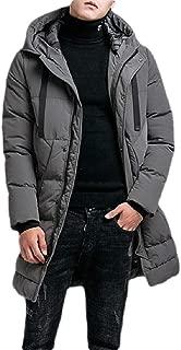 Macondoo Men's Fall/Winter Casual Packable Mid Length Quilting Hoodies Parkas Coat