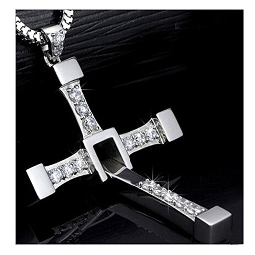 HDFREE 925 Sterling Silver Fast and Furious 7 Dominic Toretto's Cross Pendant Necklace + Chain