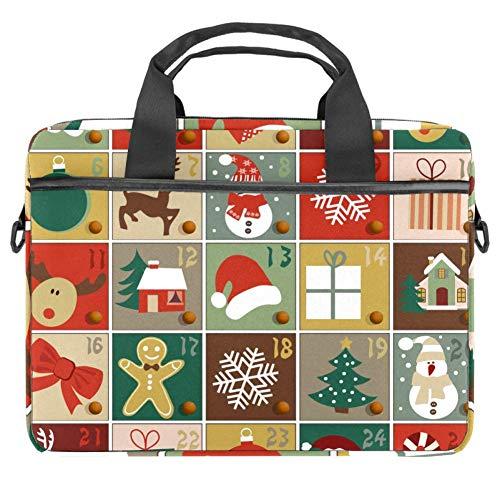 Adventskalender Laptoptasche Canvas Muster Aktentasche Sleeve Laptop Schulter Messenger Bag Case Sleeve Sleeve für 13,3-14,5 Zoll MacBook Laptop Aktentasche