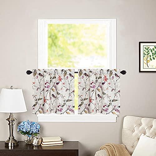 "VOGOL Tier Curtains 24'' Rod Pocket Half Window Curtain Linen Textured Cafe Valances Pink Birds Short Curtain Panels for Girls Bedroom Bathroom 2 Panels, 30"" x 24"""