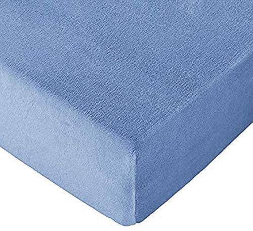 TexMan Sábana Bajera de Invierno Ajustable de CORALINA Tacto Extrasuave (150_x_200_cm, Azul)